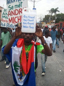 Haiti protest against US occupation, Martelly dictatorship, high cost of living, especially high cost of gas when gas prices are the lowest worldwide - Feb 7, 2015