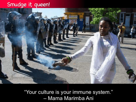 "Smudge it! ""Your culture is your immune system."" -- Mama Marimba Ani"