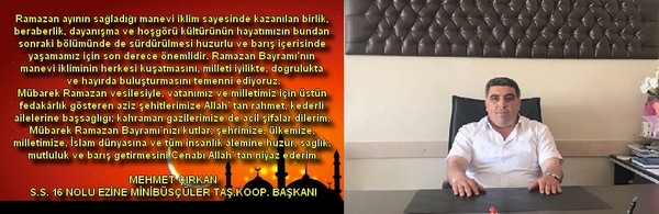 Mehmet Çırkan Ramazan Bayramı mesajı