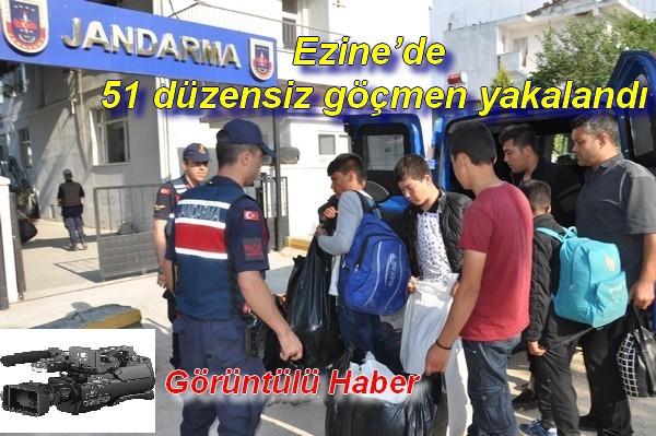 Ezine'de 51 düzensiz göçmen yakalandı