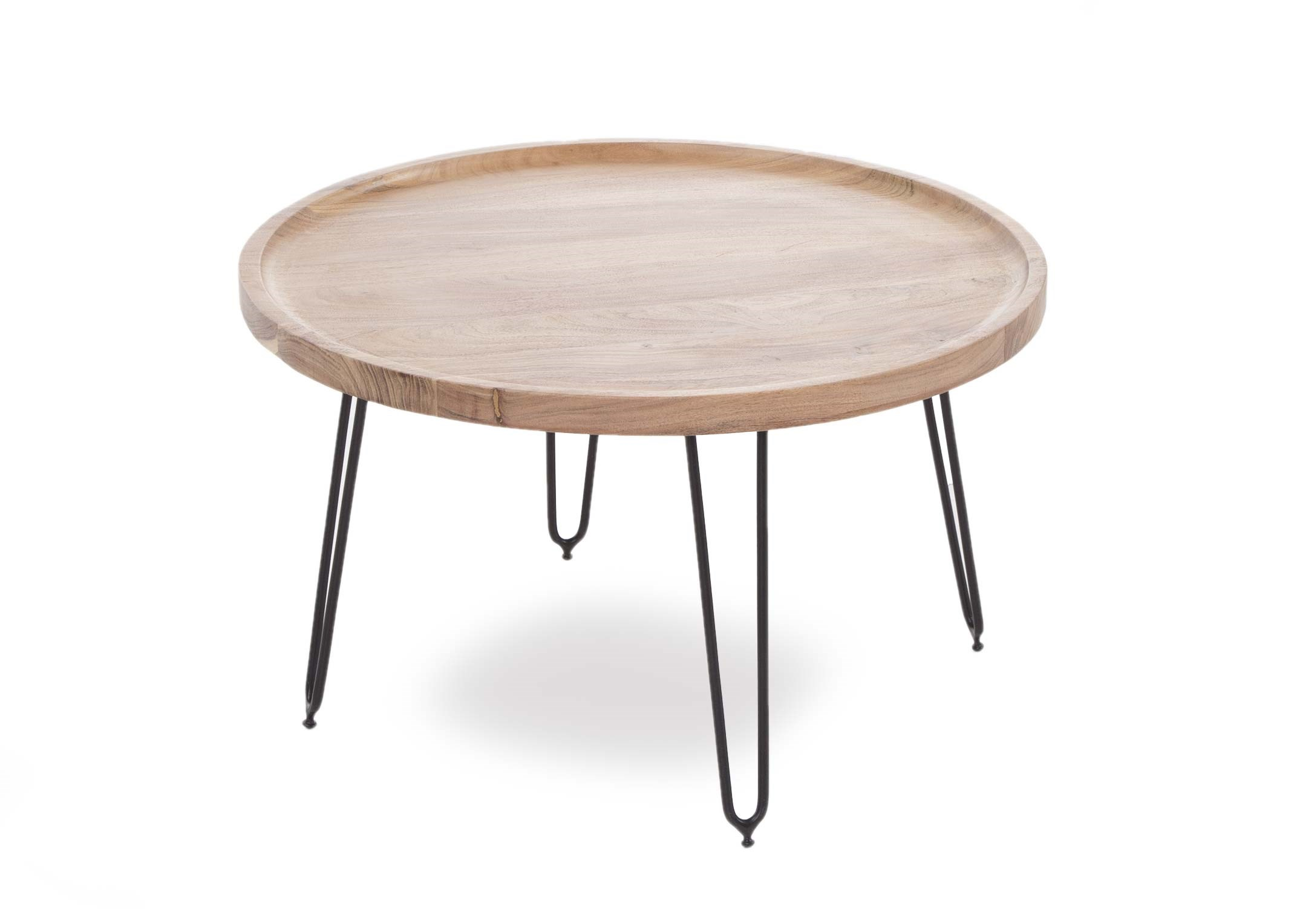 large round coffee table with black metal legs crete