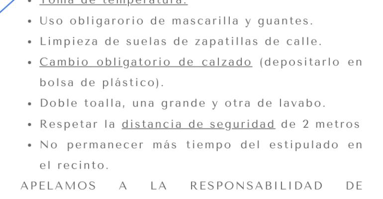 NORMAS DE USUARIO REAPERTURA F10 SPORTECENTER 1 DE JULIO