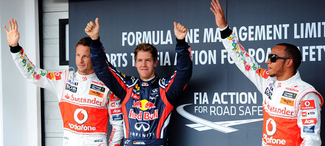 Vettel celebrando su pole en Hungaroring