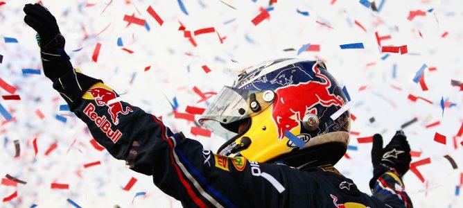 Sebastian Vettel celebrando un podio