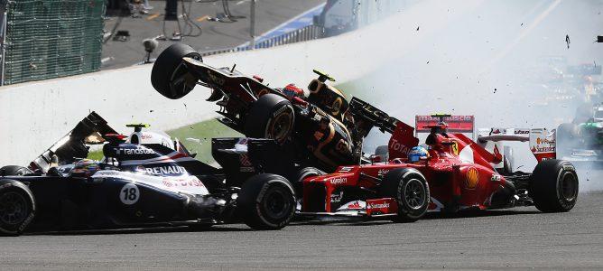 Accidente en la primera curva de la carrera de Bélgica