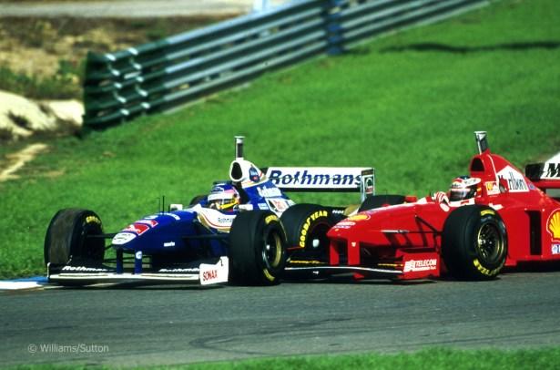 Resultado de imagen de villeneuve y schumacher 1997 jerez