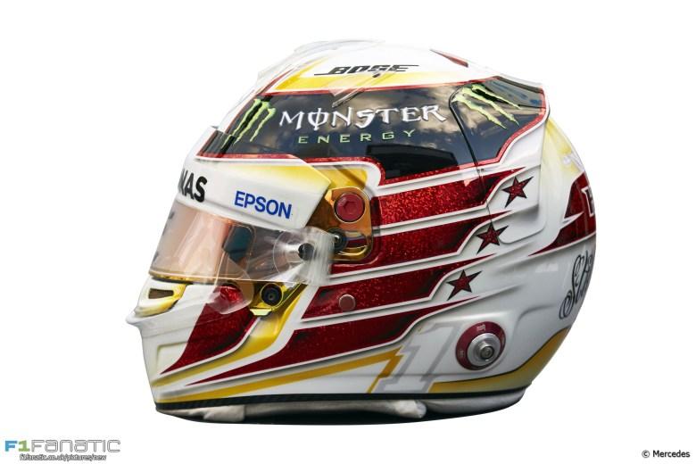 Lewis Hamilton helmet, Mercedes, 2016 · F1 Fanatic