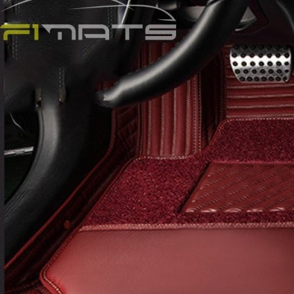 Stripe Car Mats Maroon Floor Set