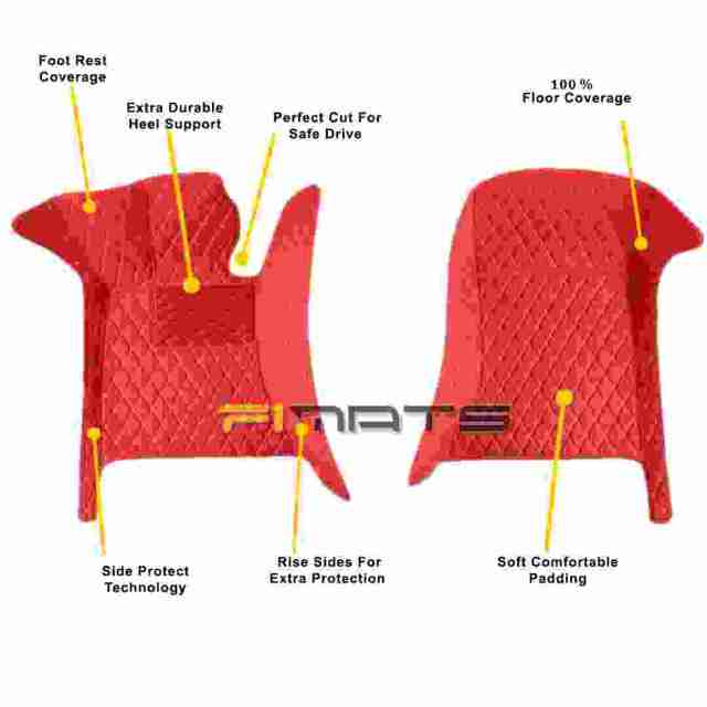 Red Stitching Front Seats Precise Coverage Car Mats only on F1MATS