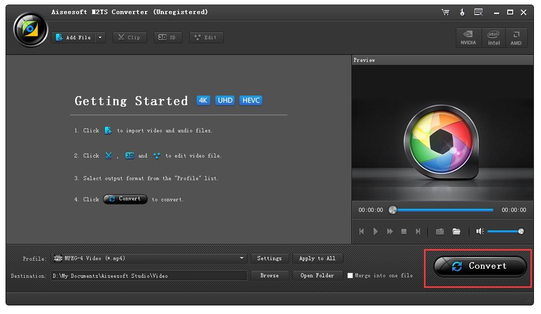 Start to Convert M2TS Video