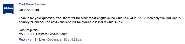 Zeiss 85mm 1.4 Otus confirmed