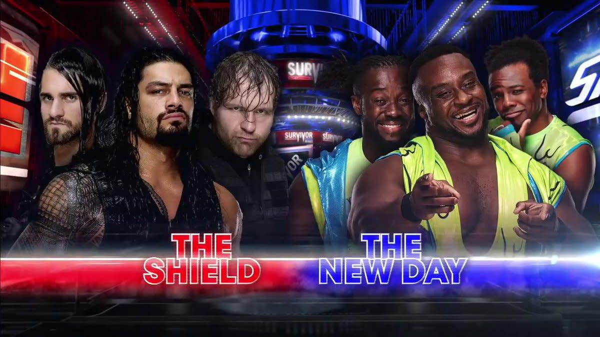Image result for WWE Survivor Series (2017) The Shield- Raw (Roman Reigns, Dean Ambrose, Seth Rollins) vs. The New Day- Smackdown Live (Kofi Kingston, Big E, Xavier Woods)