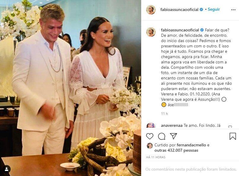 """Fábio Assunção se casa com advogada em cerimônia intimista: """"Presenteados  um com o outro"""" - F5 NOTICIA"""