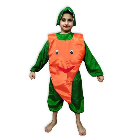 Kids Red Carrot Costume Fancy Dress on Rent