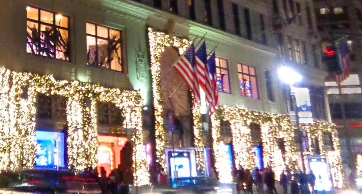 A view of Lord & Taylor at night during the holiday season.