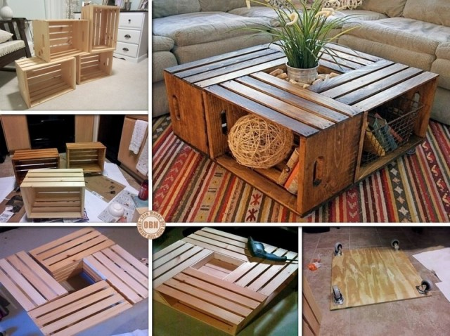 How to DIY Wood Coffee Table from Recycled Wine Crate