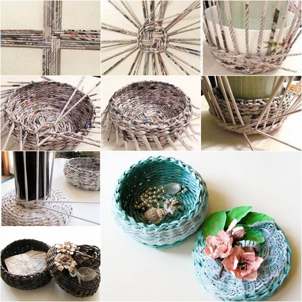 Image result for how to make basket from old newspaper