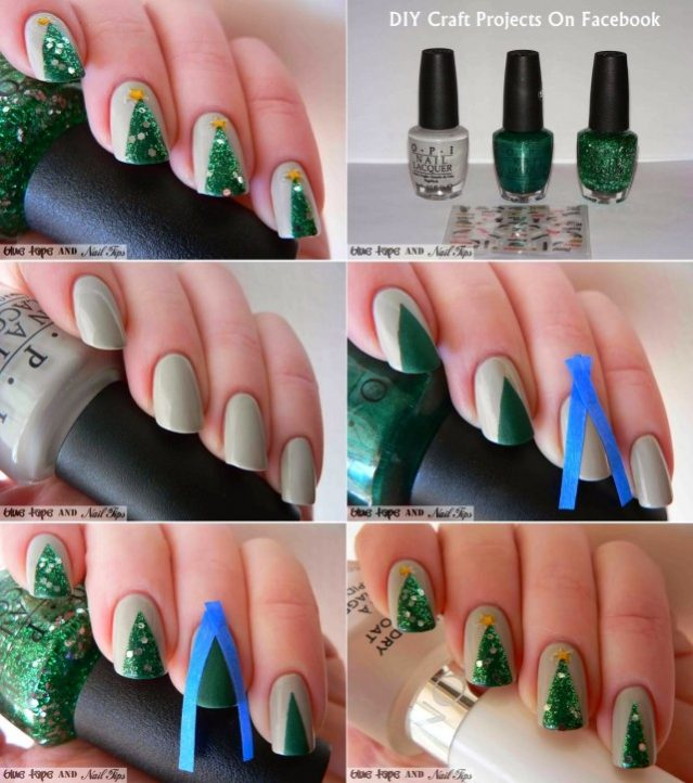 Easy Simple Christmas Tree Nail Art Designs 5