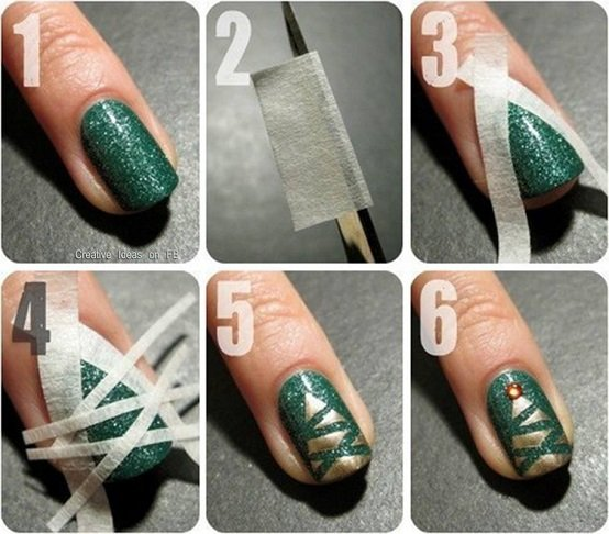 Realistic Christmas Tree Nail Art