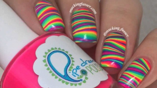 Under The Sea Water Marble Nail Design