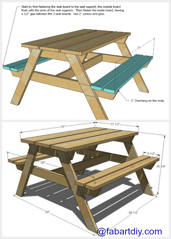 Build Your Own Wood Picnic Table   Brokeasshome.com