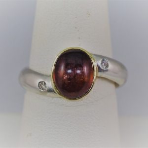 Sterling Silver Tourmaline Cabochon Ring with 18k Yellow Gold Bezel and .06ctw Accent Diamonds - $475