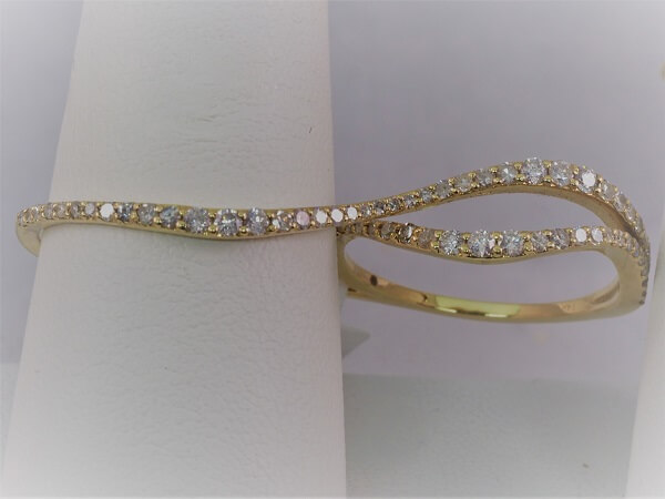 Yellow Gold 2 Finger Diamond Ring - $1,000