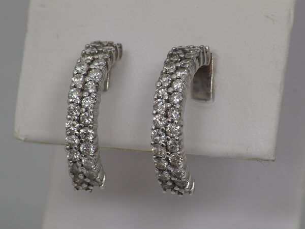 14k White Gold Half Hoop Diamond Earrings, 1.35ctw - $700