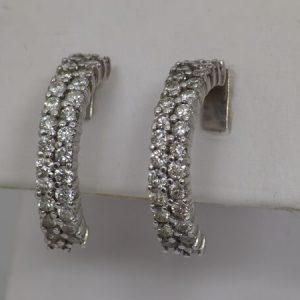14k White Gold Half Hoop Diamond Earrings, 1.35ctw - $700
