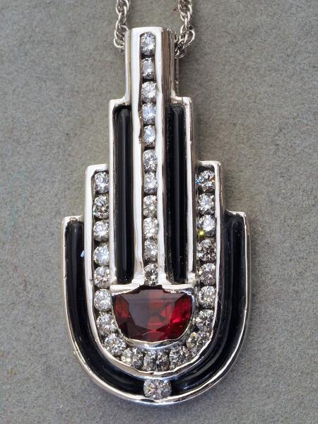Palladium Red Spinel, Diamond and Black Onyx Pendant