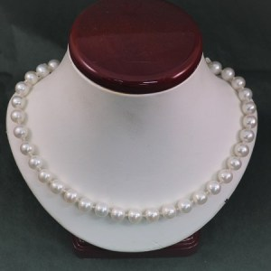 """18"""" Freshwater Pearl Necklace with Handmade 14KW S-Clasp and Bead Caps - $425"""
