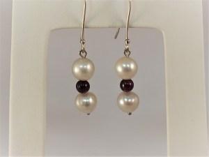 Pearl and Garnet 14k White Gold Dangle Earrings - $175