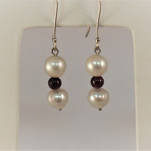 Pearl and Garnet 14k White Gold Dangle Earrings - $175