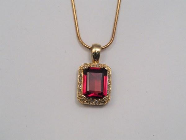 14k Yellow Gold Garnet and Diamond Pendant, approx .12ctw - $498