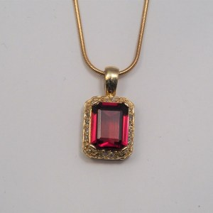 14k Yellow Gold Garnet and Diamond Pendant, approx .12ctw - $498