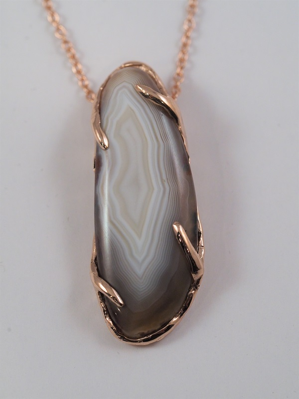 14k Rose Gold Lake Superior Agate Pendant