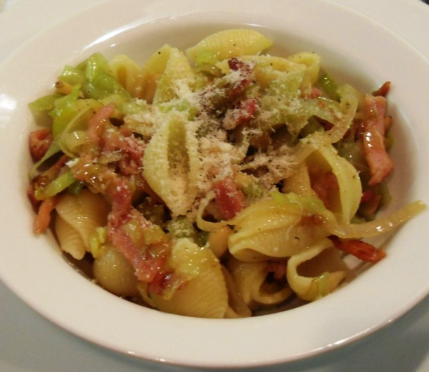 Bacon, Leek & Pine Nut Pasta in a bowl