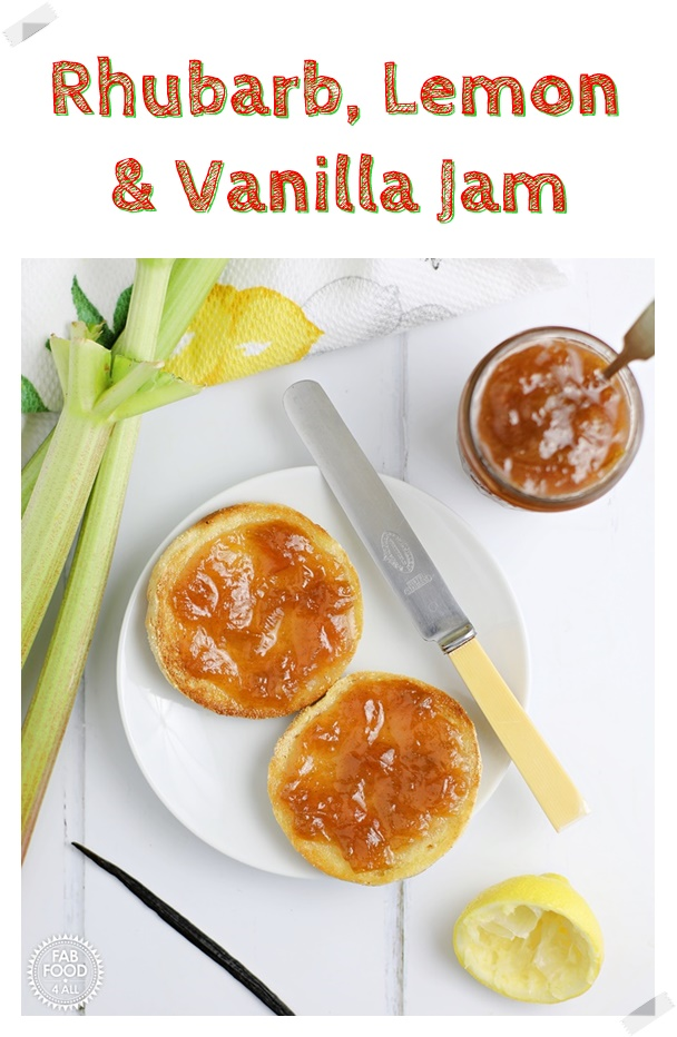 Rhubarb, Lemon and Vanilla Jam spread on a muffin with rhubarb stalks, lemon half & vanilla pod in background. Pin image.