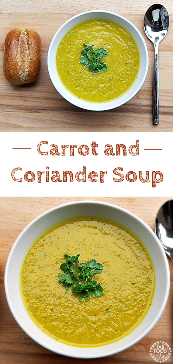 Carrot & Coriander Soup - uses fresh leaf coriander and is so nutritious and delicious! #Vegetarian #VegetarianRecipes #CarrotRecipes #Soup #SoupRecipes #VegetarianSoups #Coriander #CorianderRecipes #