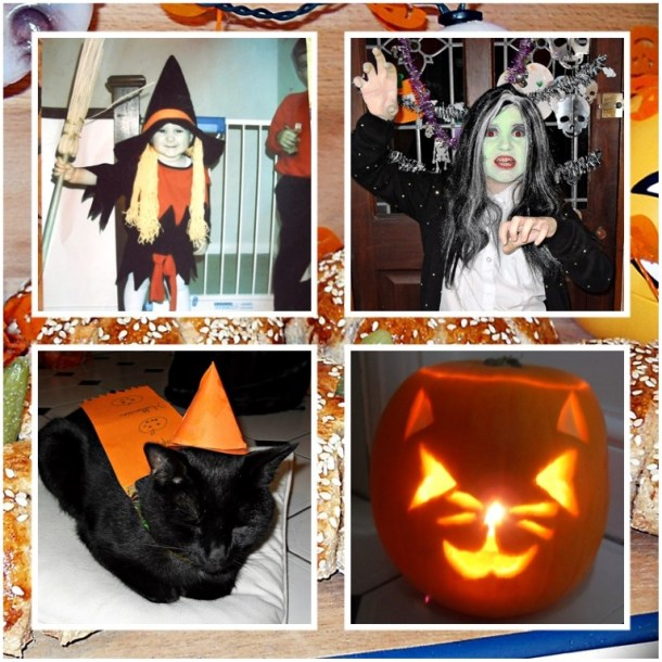 Daughter's 1st Halloween aged 2 and last year aged 10! Plus Coco catching a few zz's before trick or treating! Cat faced pumpkins - off course!