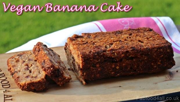Vegan Banana Cake, egg free, dairy free, sugar free, healthy, cake, nutritious