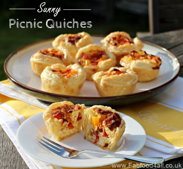 Sunny Picnic Quiches, National Picnic Day, lunchbox, child friendly, mini quiches, chorizo, peppers, cheddar