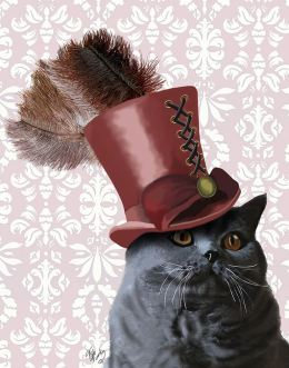 Grey Cat With Steampunk Top Hat
