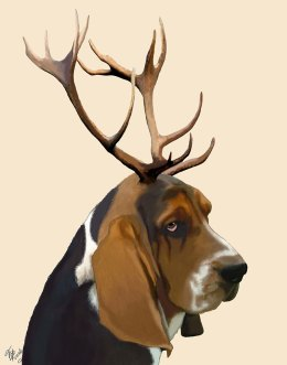 Basset Hound and Antlers