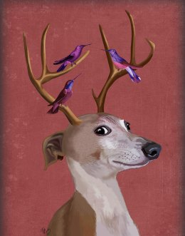 Greyhound and Antlers - Red
