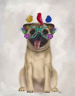 Pug and Flower Glasses