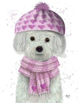 Bichon Frise in Pink Bobble Hat