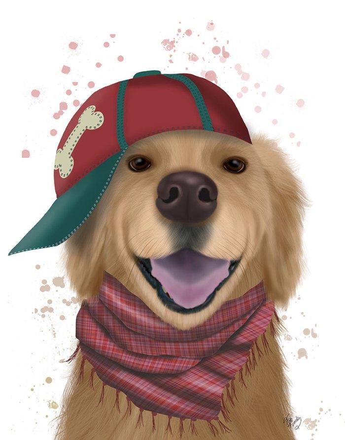 Golden Retriever and Baseball Cap