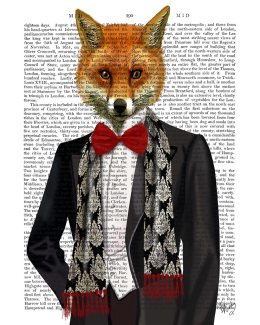 Fox with Red Bow Tie