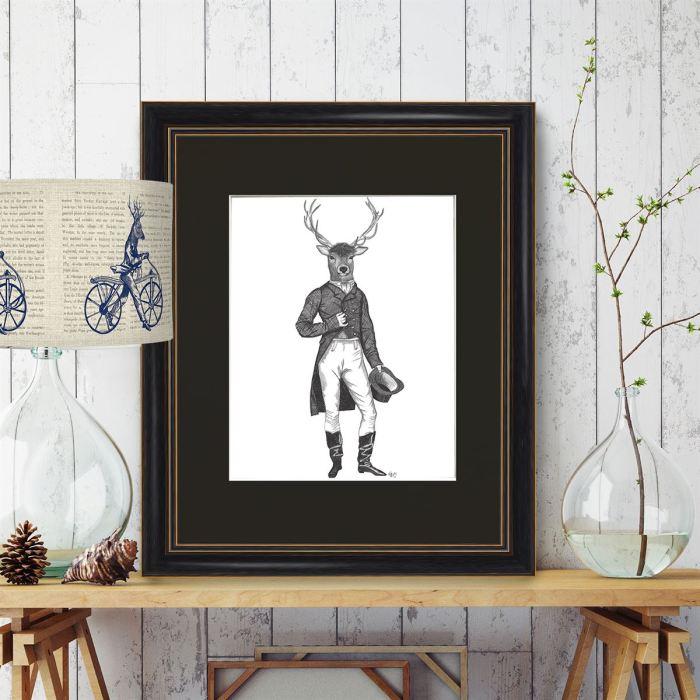 Limited Edition Print of drawing  Framed Oxford Black